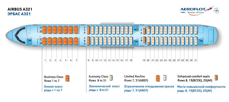 Airbus a321-211 схема салона