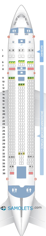 Схема салона Ил 96-300 Аэрофлот