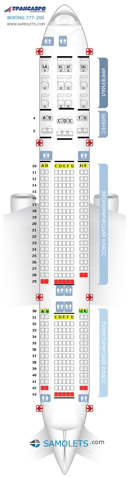 Схема салона Boeing 777-200 Трансаэро (4 класса)