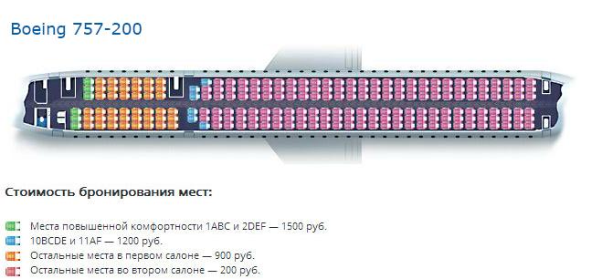 Схема салона Boeing 757-200 — Вим-Авиа